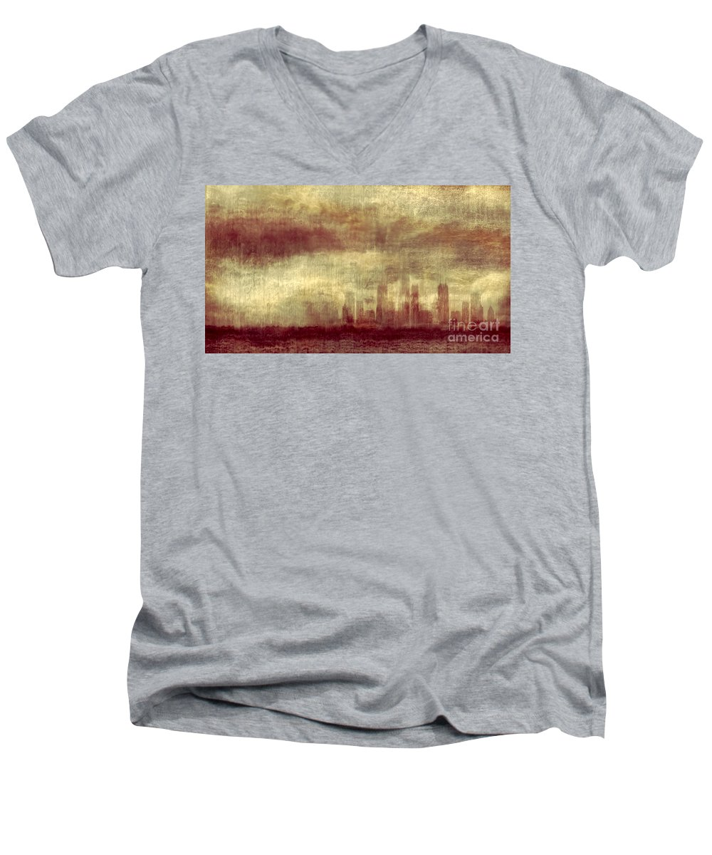 Clouds Men's V-Neck T-Shirt featuring the photograph Someone To Hold You Beneath Darkened Sky by Dana DiPasquale