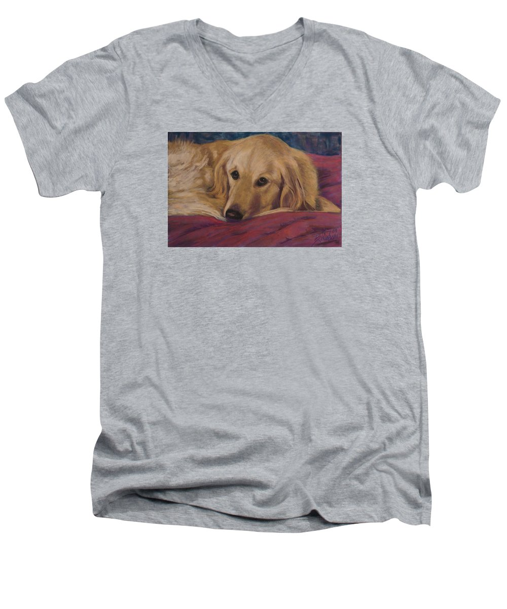 Dogs Men's V-Neck T-Shirt featuring the painting Soulfull Eyes by Billie Colson