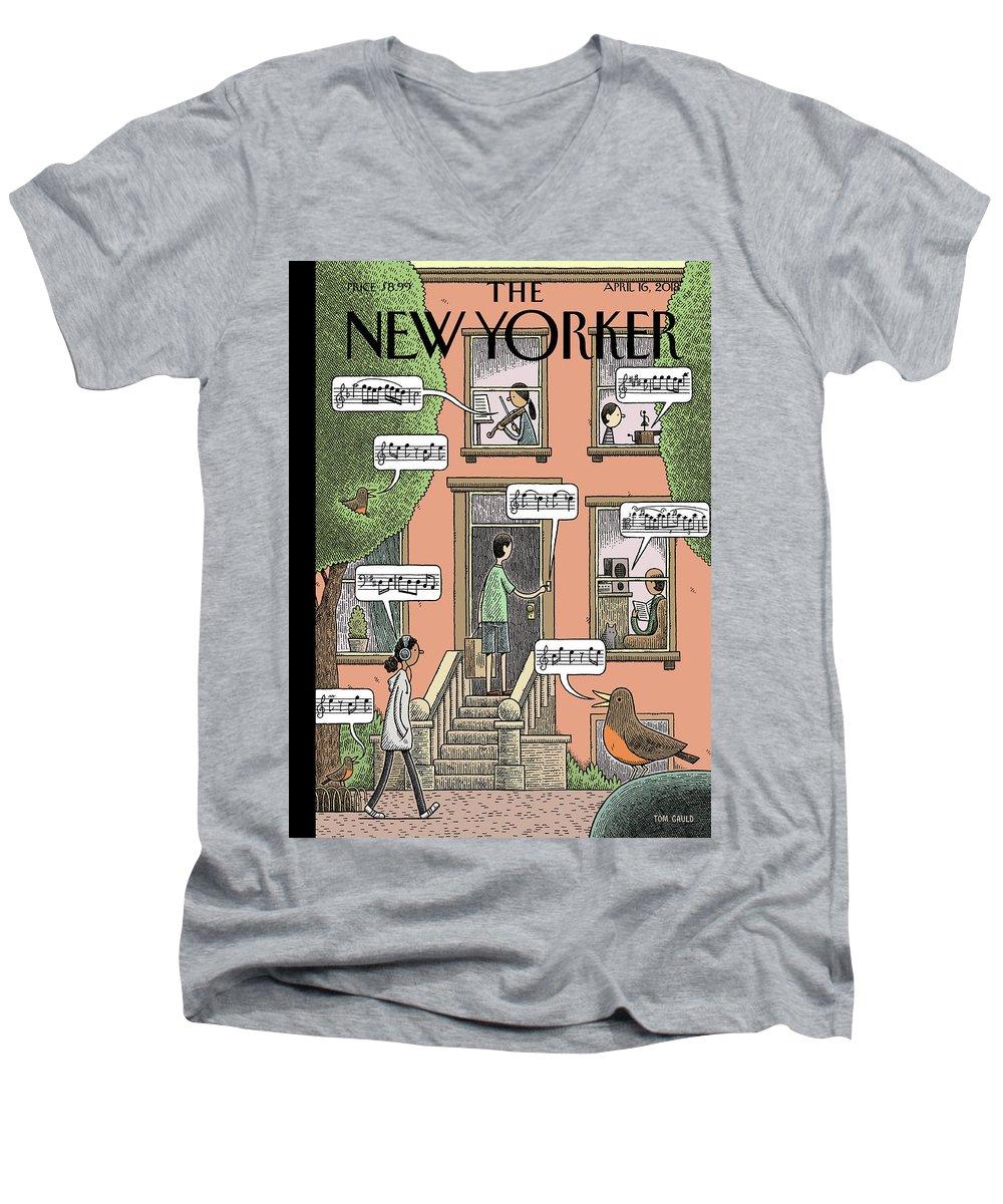 Soundtrack To Spring Men's V-Neck T-Shirt featuring the drawing Soundtrack To Spring by Tom Gauld