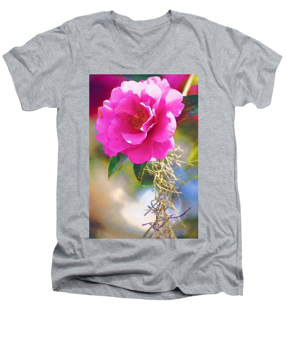 Rose Men's V-Neck T-Shirt featuring the digital art Southern Rose by Donna Bentley