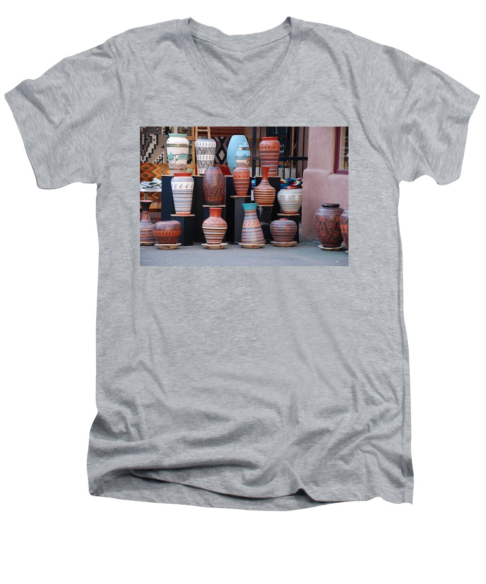 Southwestern Men's V-Neck T-Shirt featuring the photograph Southwestern Potery by Rob Hans