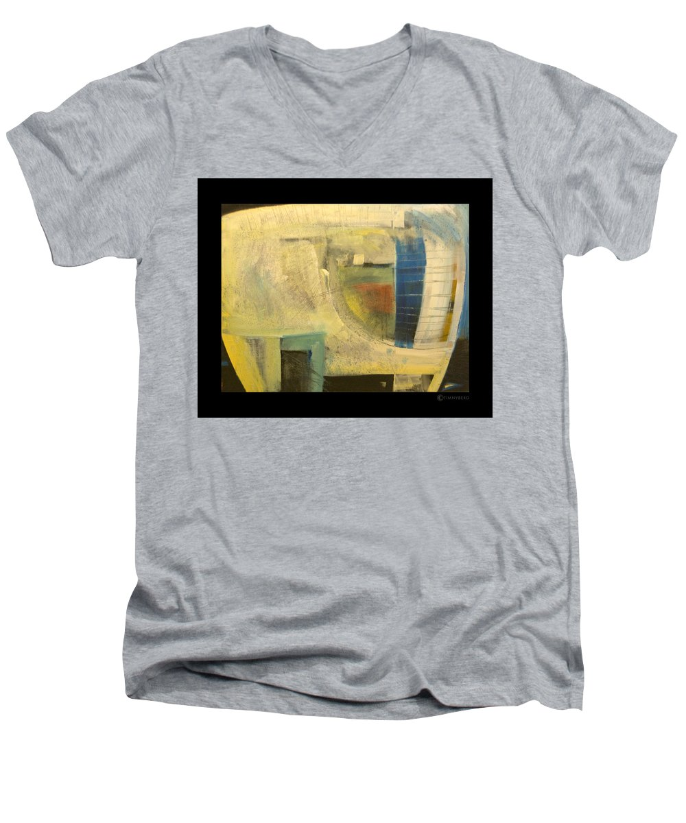 Dog Men's V-Neck T-Shirt featuring the painting Space Dog by Tim Nyberg