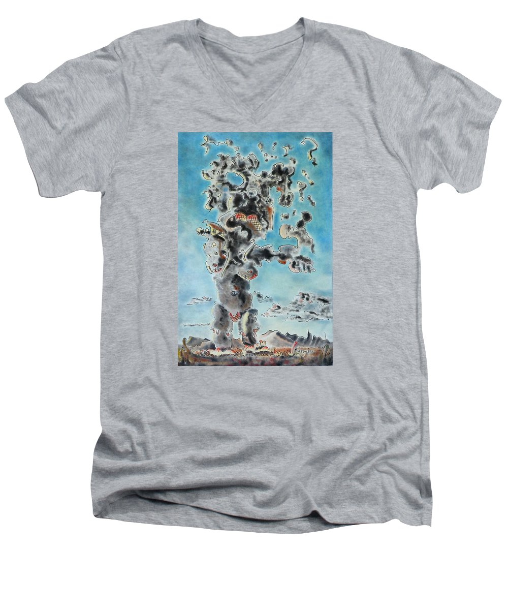 Surreal Men's V-Neck T-Shirt featuring the painting Spectre by Dave Martsolf
