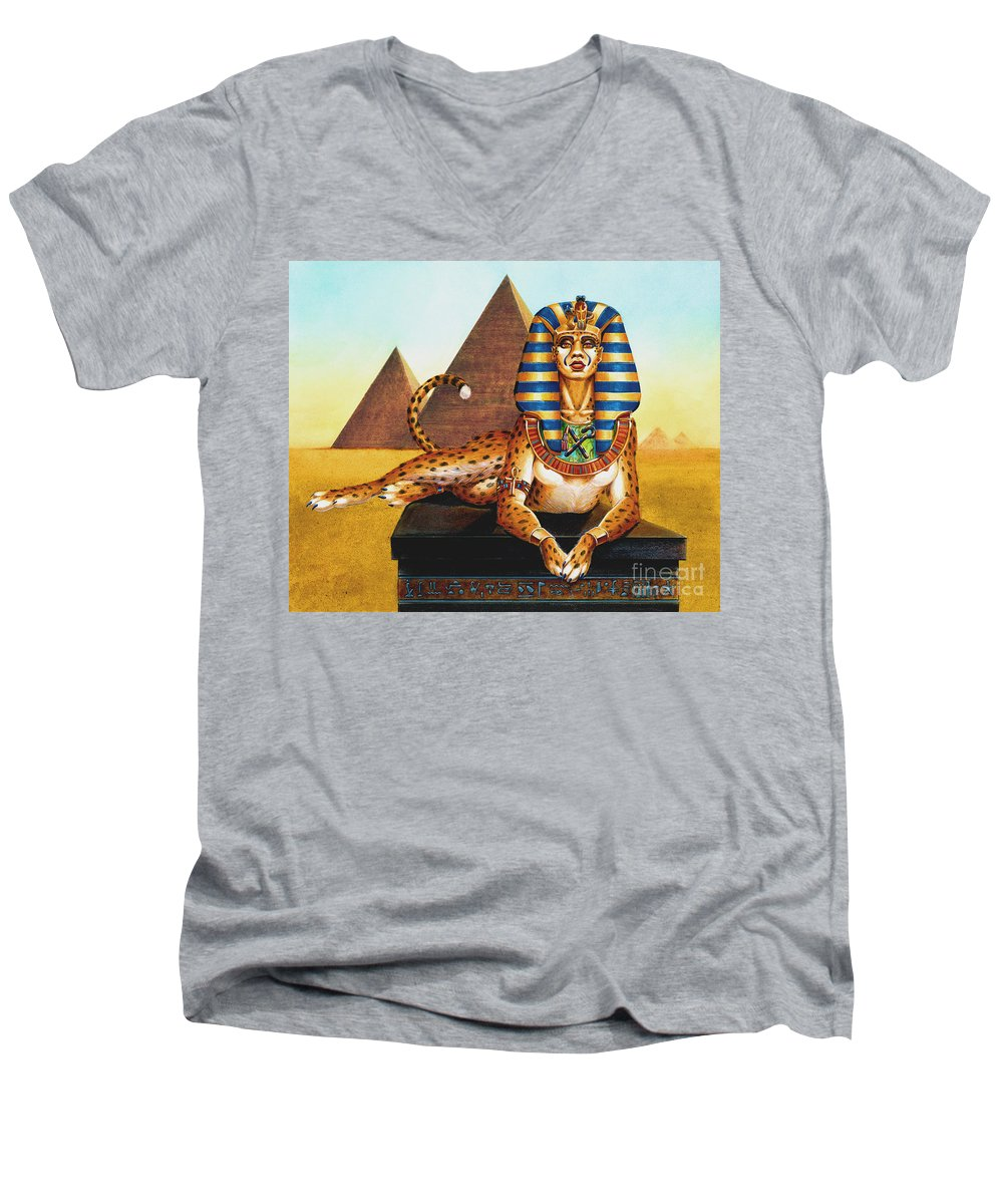 Cat Men's V-Neck T-Shirt featuring the painting Sphinx On Plinth by Melissa A Benson