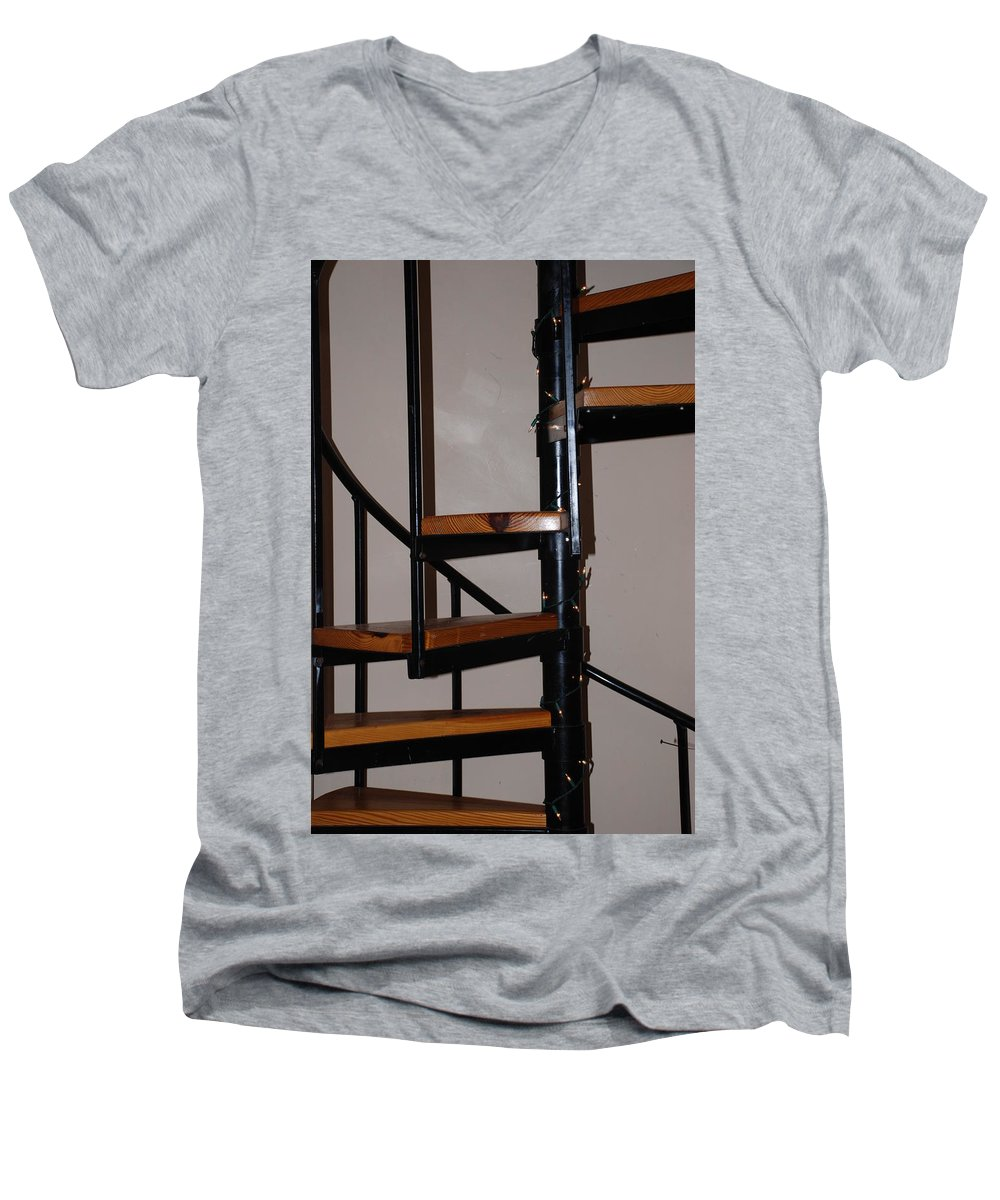 Stairs Men's V-Neck T-Shirt featuring the photograph Spiral Stairs by Rob Hans