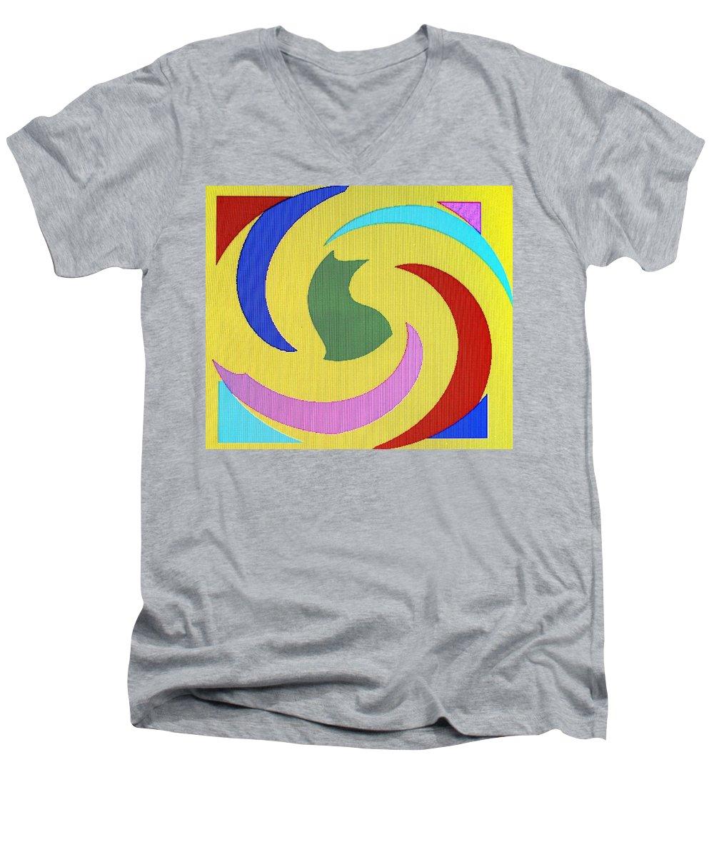 Abstract Men's V-Neck T-Shirt featuring the digital art Spiral Three by Ian MacDonald