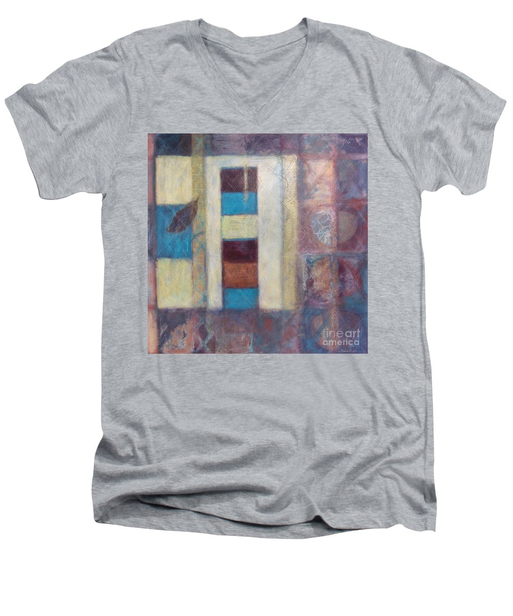Spiritual Men's V-Neck T-Shirt featuring the painting Spirit Of Gold - States Of Being by Kerryn Madsen- Pietsch