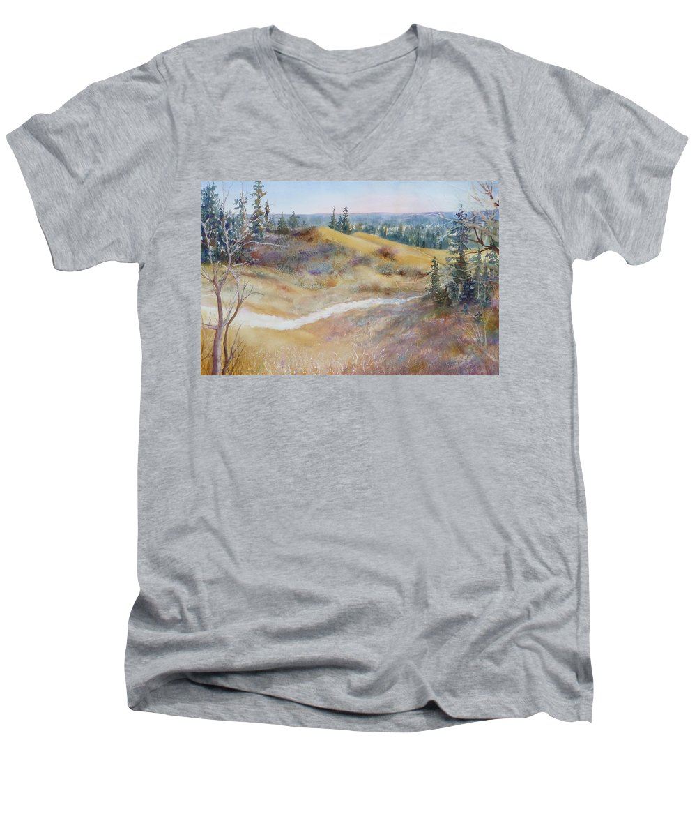 Landscape Men's V-Neck T-Shirt featuring the painting Spirit Sands by Ruth Kamenev