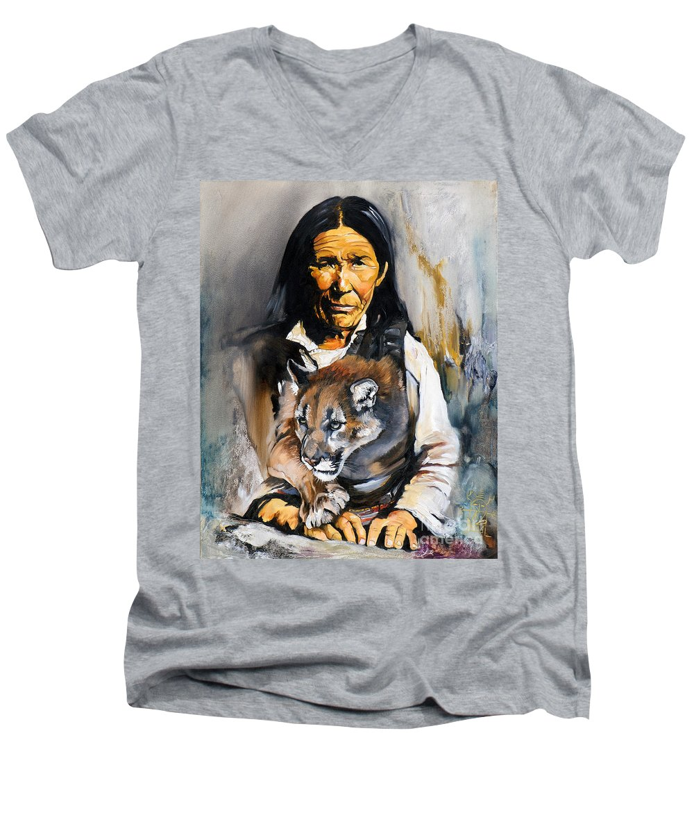 Spiritual Men's V-Neck T-Shirt featuring the painting Spirit Within by J W Baker