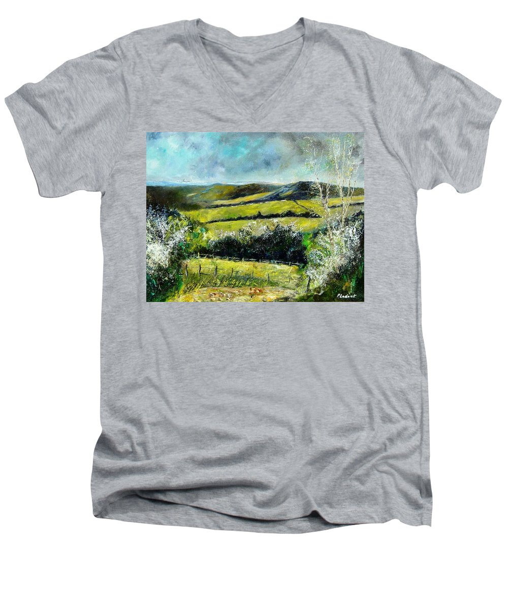 Landscape Men's V-Neck T-Shirt featuring the print Spring 79 by Pol Ledent