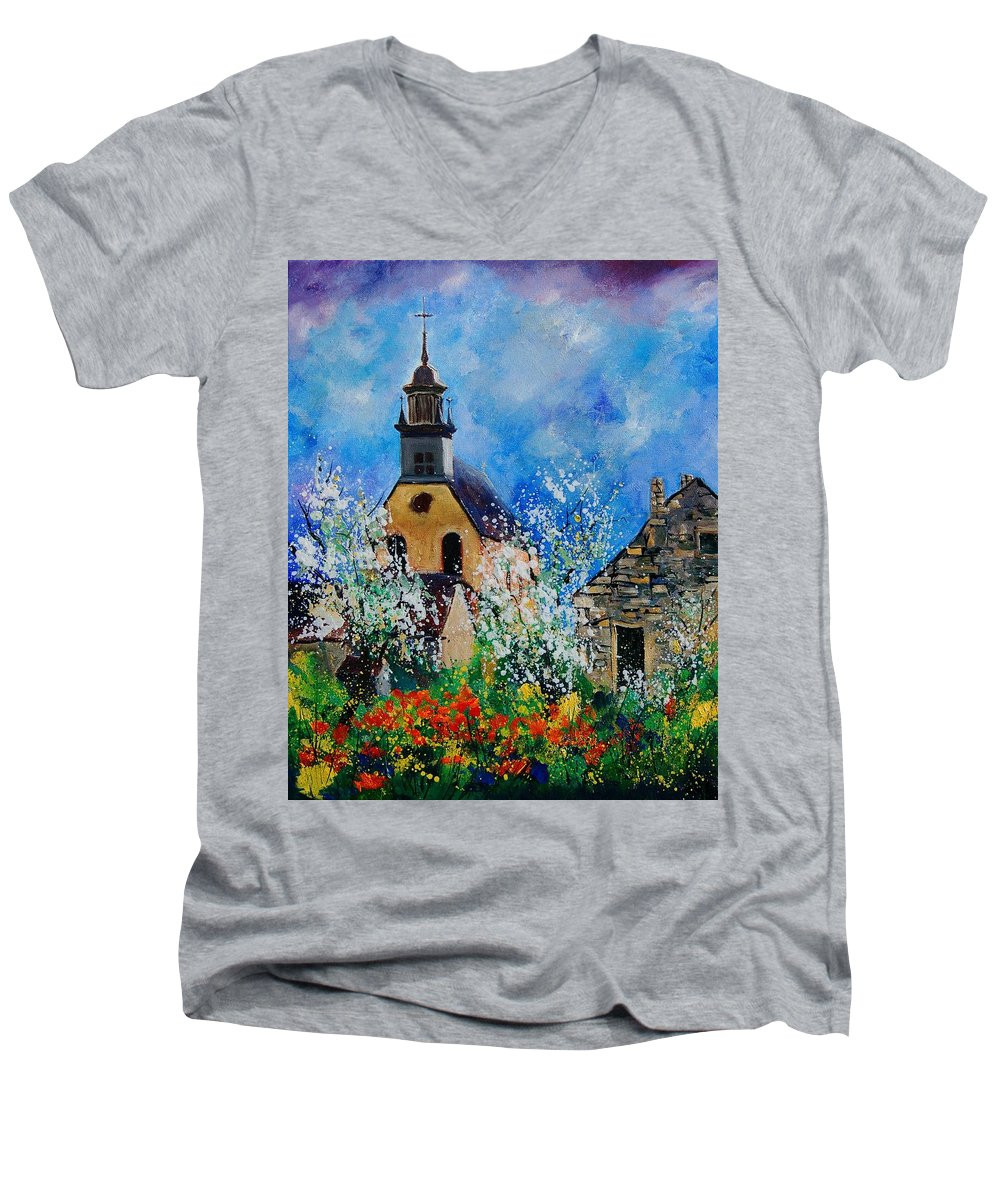 Spring Men's V-Neck T-Shirt featuring the painting Spring In Foy Notre Dame Dinant by Pol Ledent