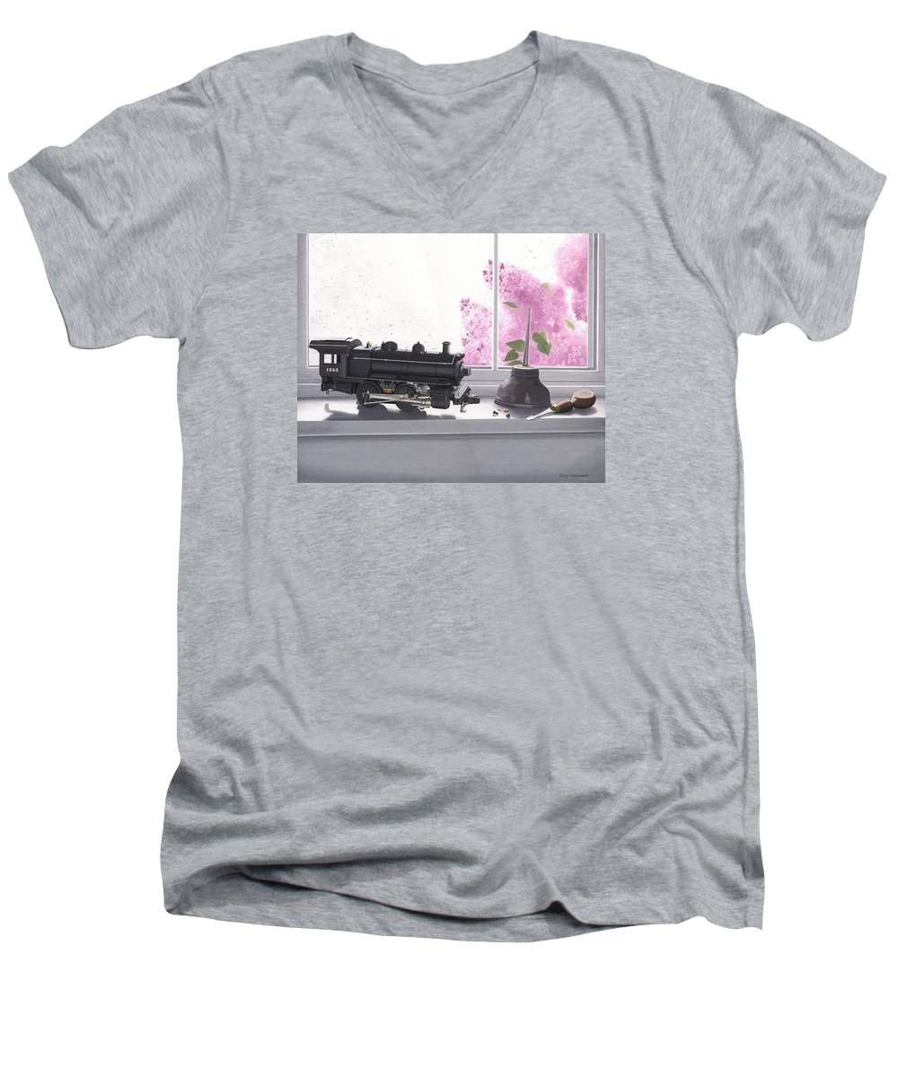 Lionel Men's V-Neck T-Shirt featuring the painting Spring Rain Electric Train by Gary Giacomelli