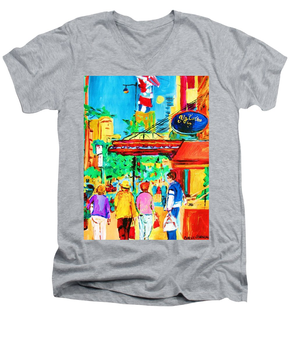 Paintings Of The Ritz Carlton On Sherbrooke Street Montreal Art Men's V-Neck T-Shirt featuring the painting Springtime Stroll by Carole Spandau