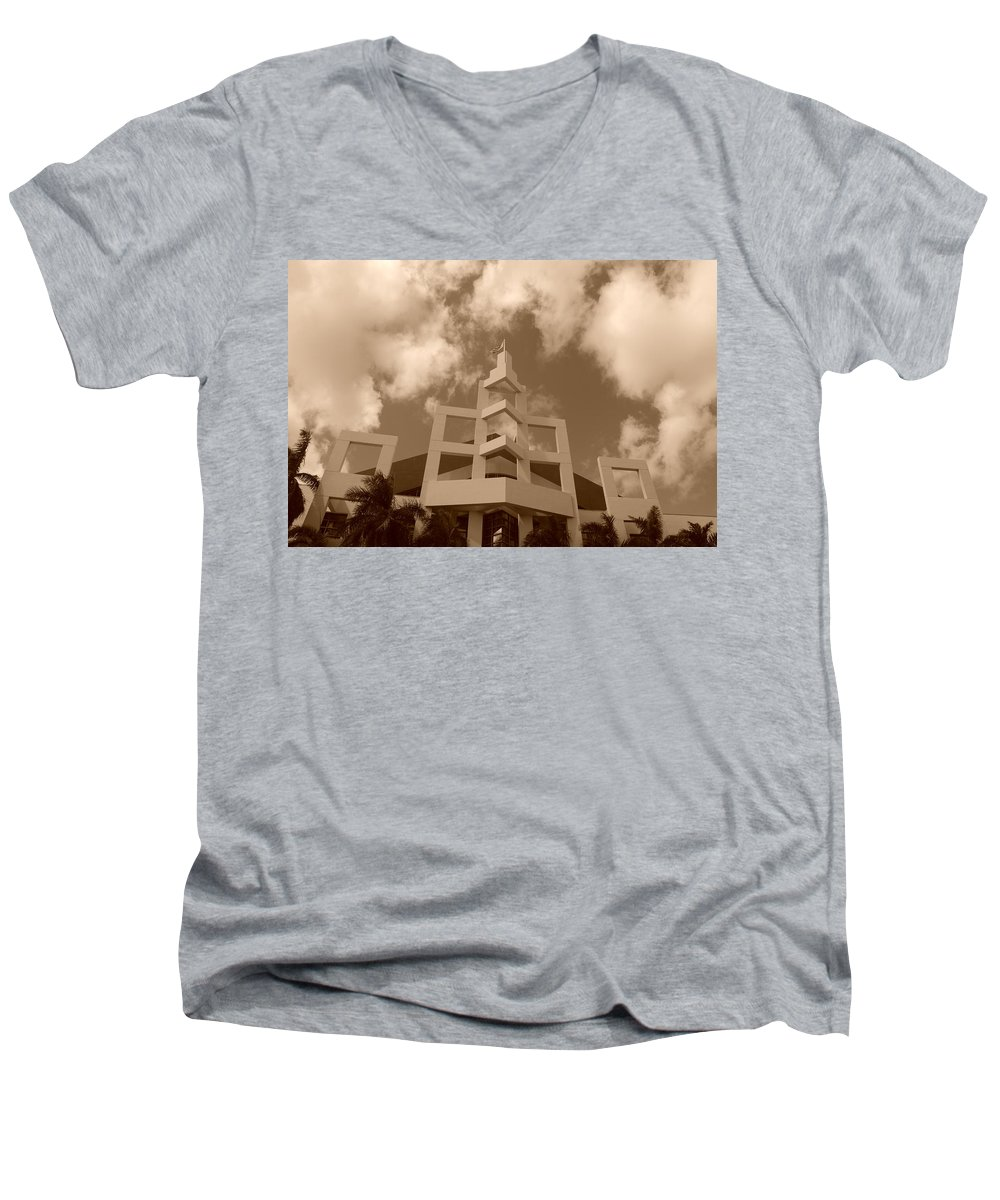 Architecture Men's V-Neck T-Shirt featuring the photograph Squares In The Sky by Rob Hans