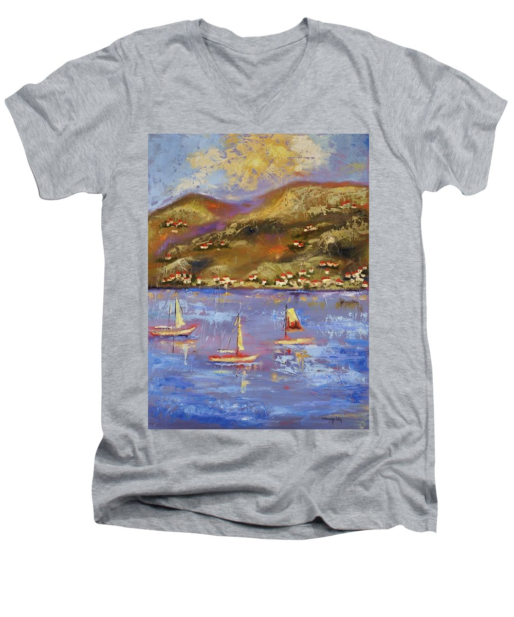 St. John Men's V-Neck T-Shirt featuring the painting St. John Usvi by Ginger Concepcion