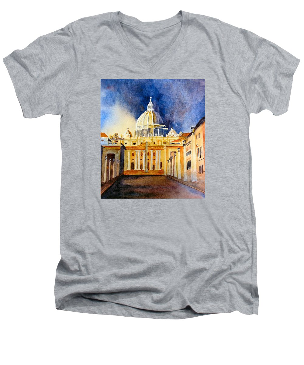 Vatican Men's V-Neck T-Shirt featuring the painting St. Peters Basilica by Karen Stark