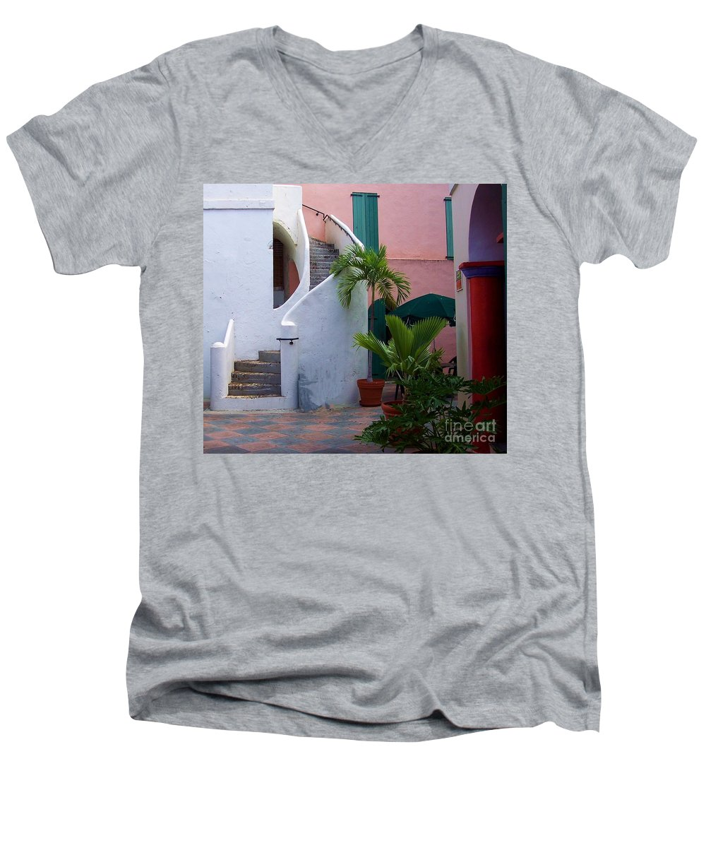 Architecture Men's V-Neck T-Shirt featuring the photograph St. Thomas Courtyard by Debbi Granruth