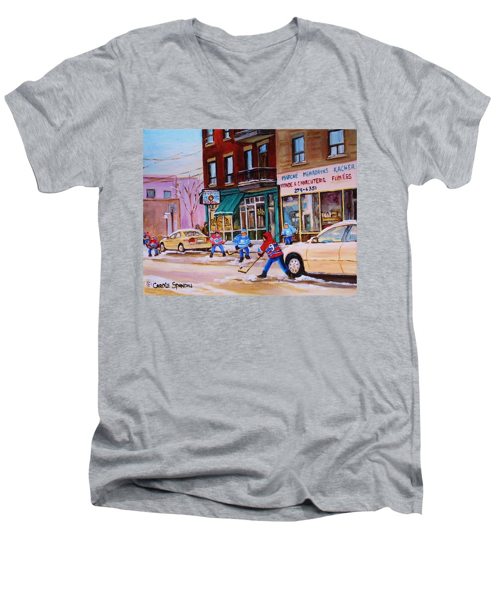 Montreal Men's V-Neck T-Shirt featuring the painting St. Viateur Bagel With Boys Playing Hockey by Carole Spandau