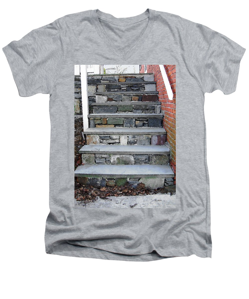 Stairs Men's V-Neck T-Shirt featuring the photograph Stairs To The Plague House by RC DeWinter