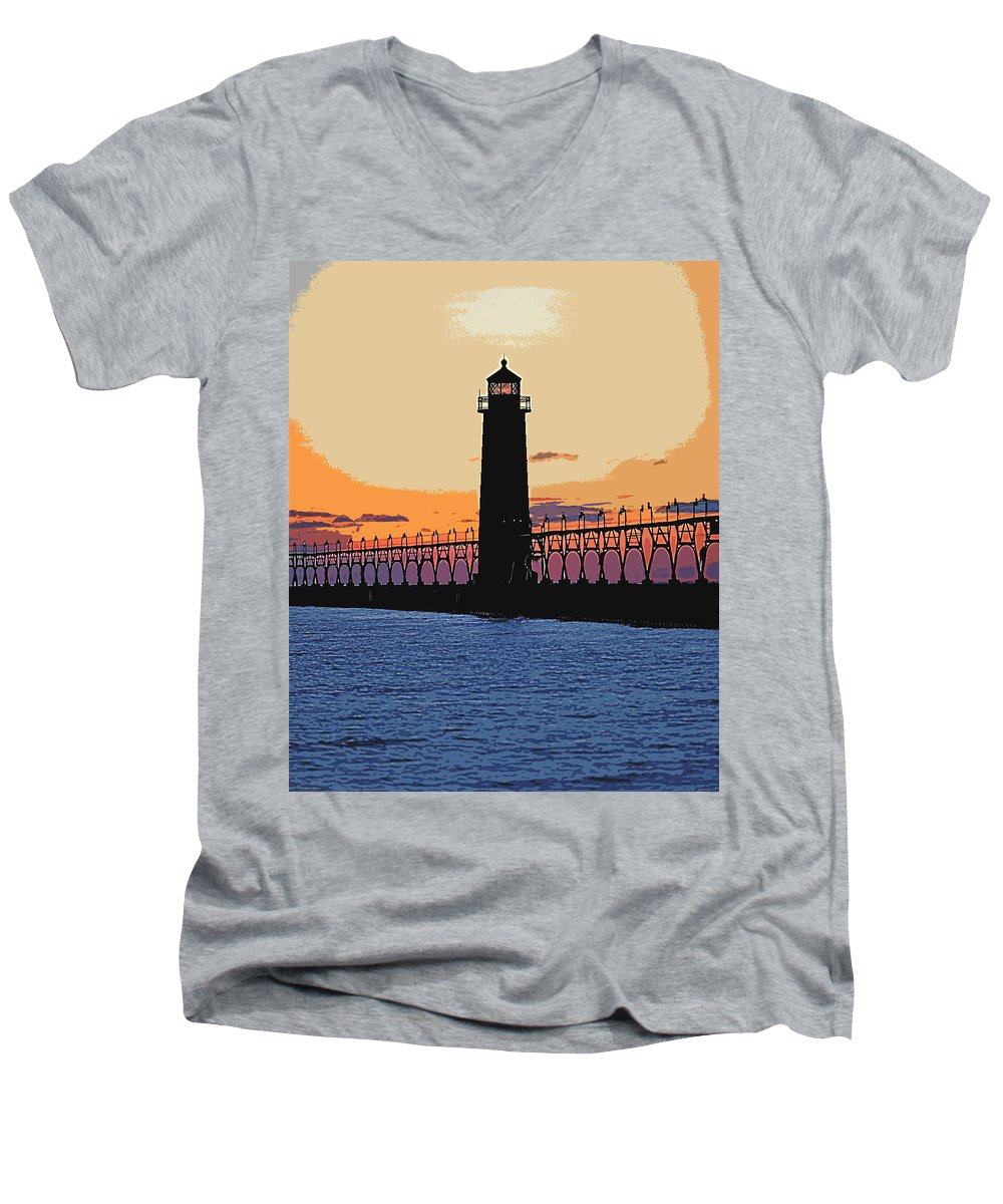 Light House Men's V-Neck T-Shirt featuring the photograph Standing Sure by Robert Pearson