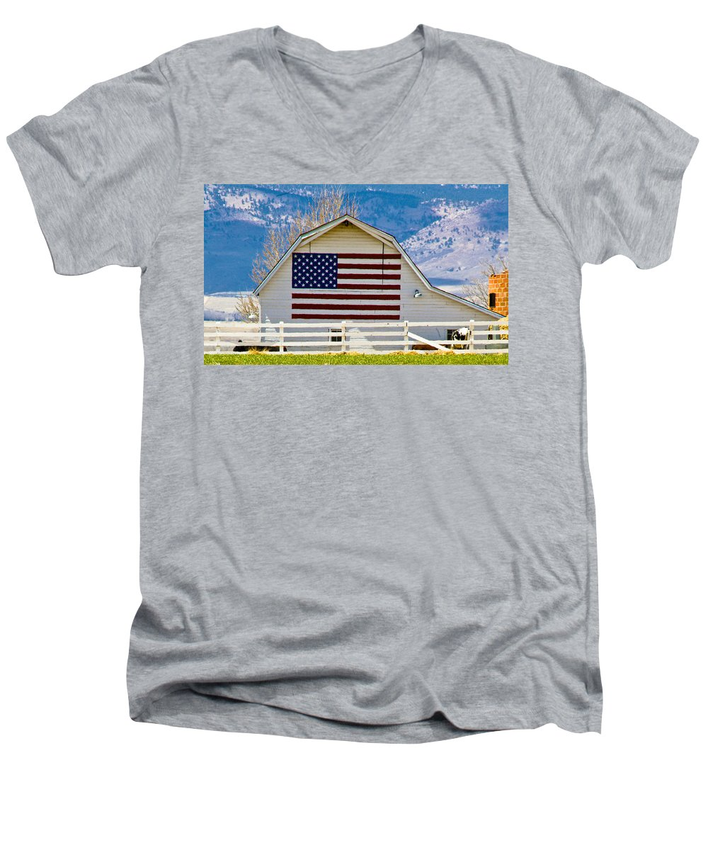 Barn Men's V-Neck T-Shirt featuring the photograph Stars Stripes And Barns by Marilyn Hunt
