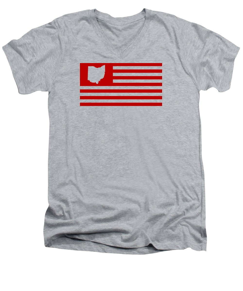 Ohio Men's V-Neck T-Shirt featuring the digital art State of Ohio - American Flag by War Is Hell Store