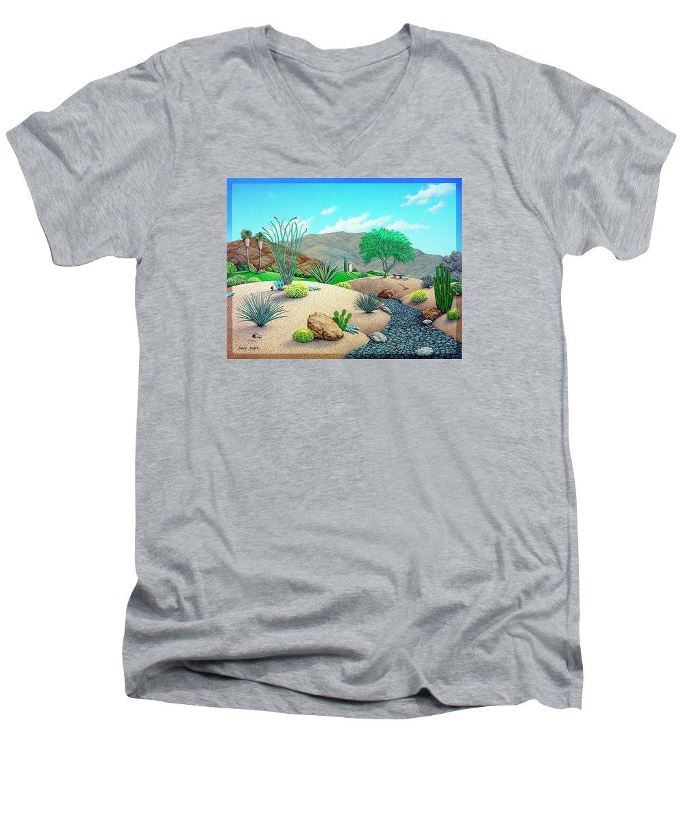 Desert Men's V-Neck T-Shirt featuring the painting Steves Yard by Snake Jagger