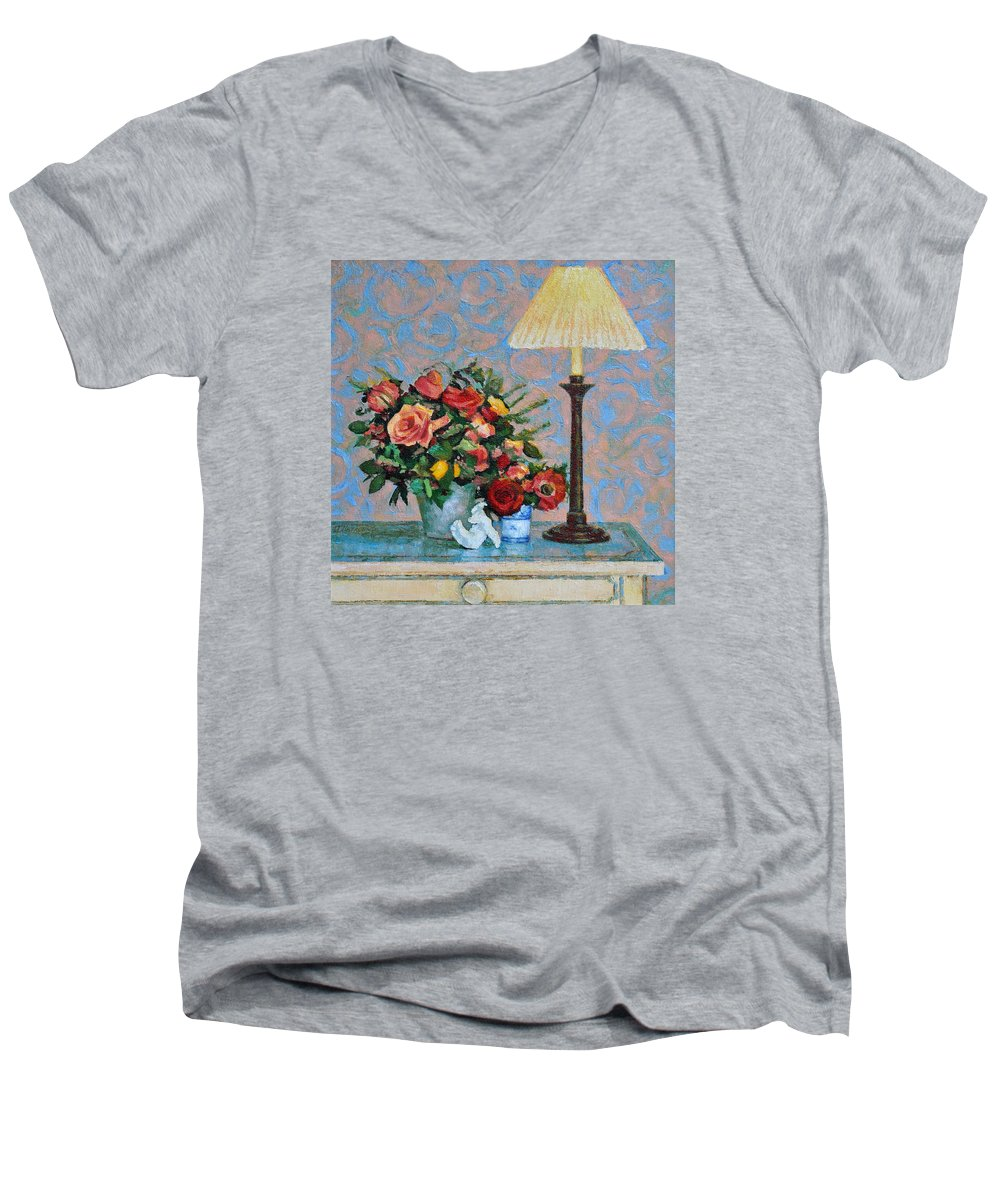 Flowers Men's V-Neck T-Shirt featuring the painting Still Life With A Lamp by Iliyan Bozhanov