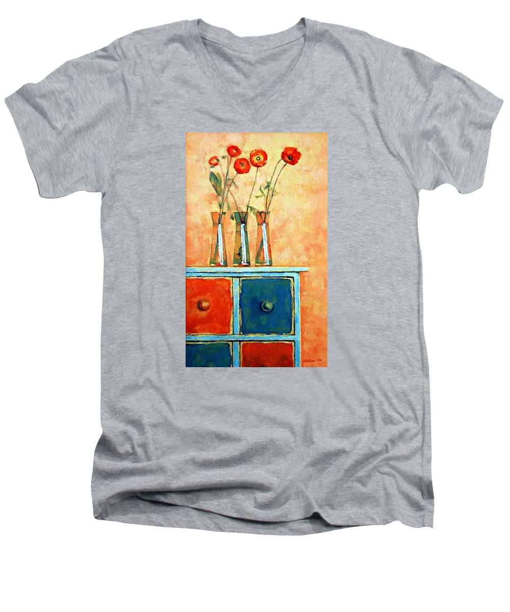 Poppies Men's V-Neck T-Shirt featuring the painting Still Life With Poppies by Iliyan Bozhanov