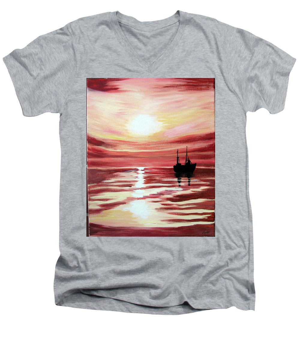Seascape Men's V-Neck T-Shirt featuring the painting Still Waters Run Deep by Marco Morales