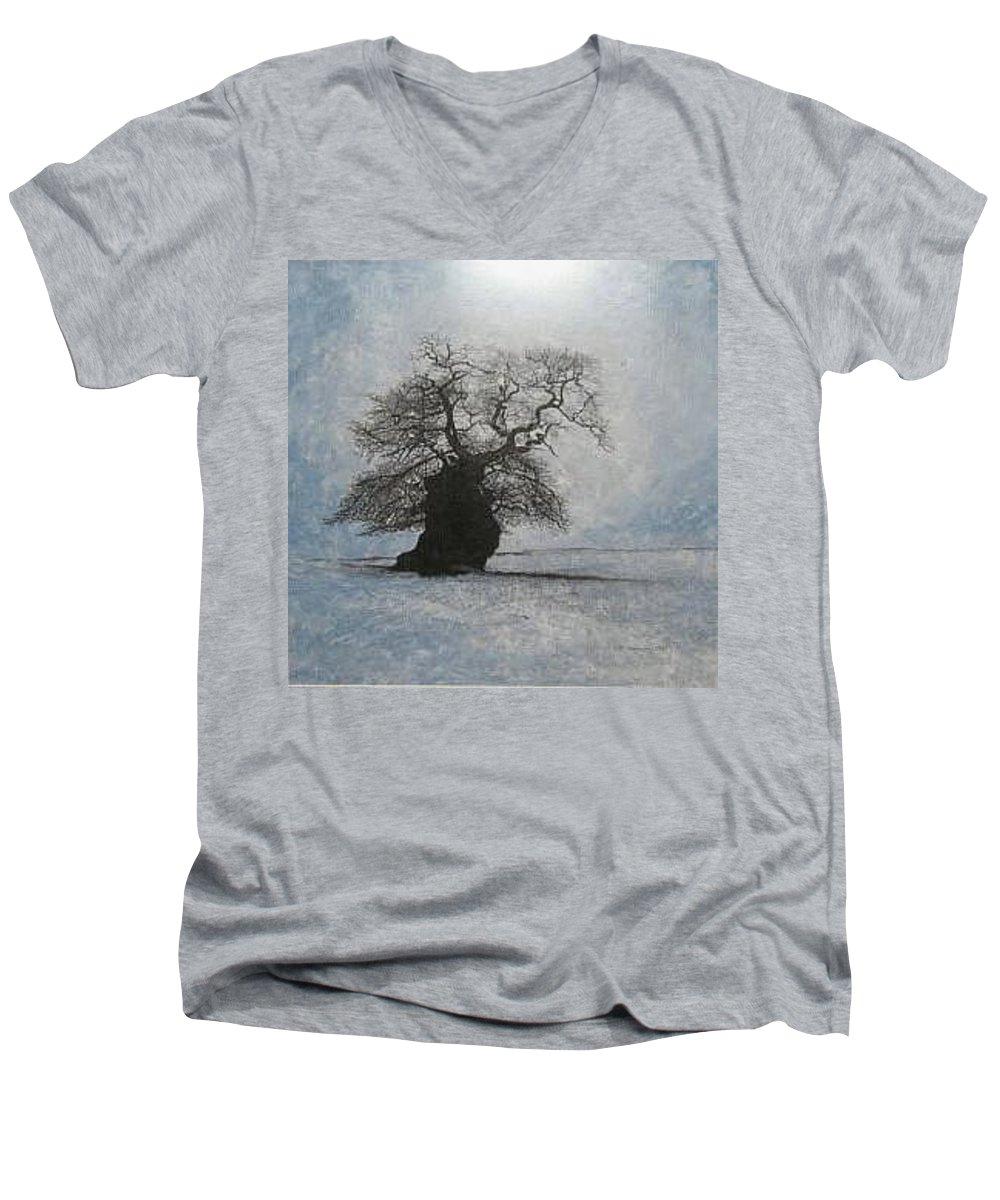 Silhouette Men's V-Neck T-Shirt featuring the painting Stilton Silhouette by Leah Tomaino
