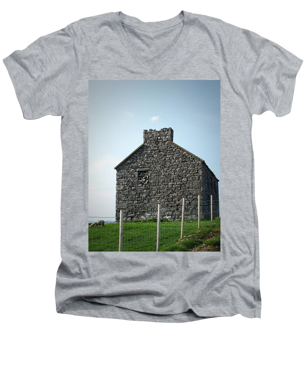 Irish Men's V-Neck T-Shirt featuring the photograph Stone Building Maam Ireland by Teresa Mucha