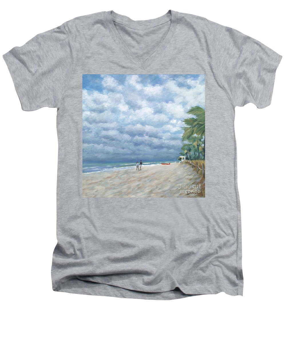 Fort Lauderdale Men's V-Neck T-Shirt featuring the painting Storm On The Horizon by Danielle Perry