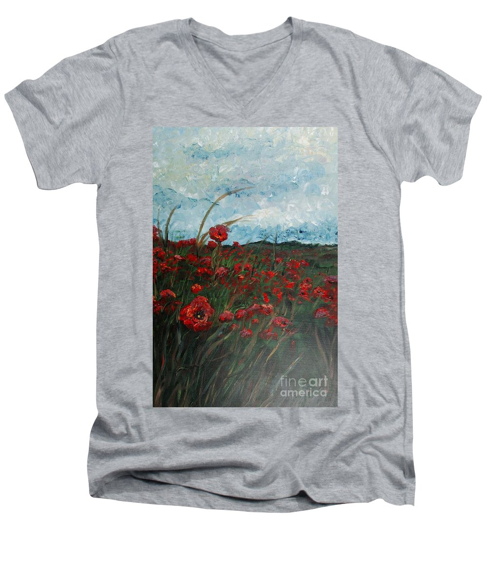 Poppies Men's V-Neck T-Shirt featuring the painting Stormy Poppies by Nadine Rippelmeyer