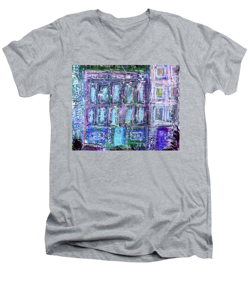 Street Men's V-Neck T-Shirt featuring the painting Street Life by Wayne Potrafka