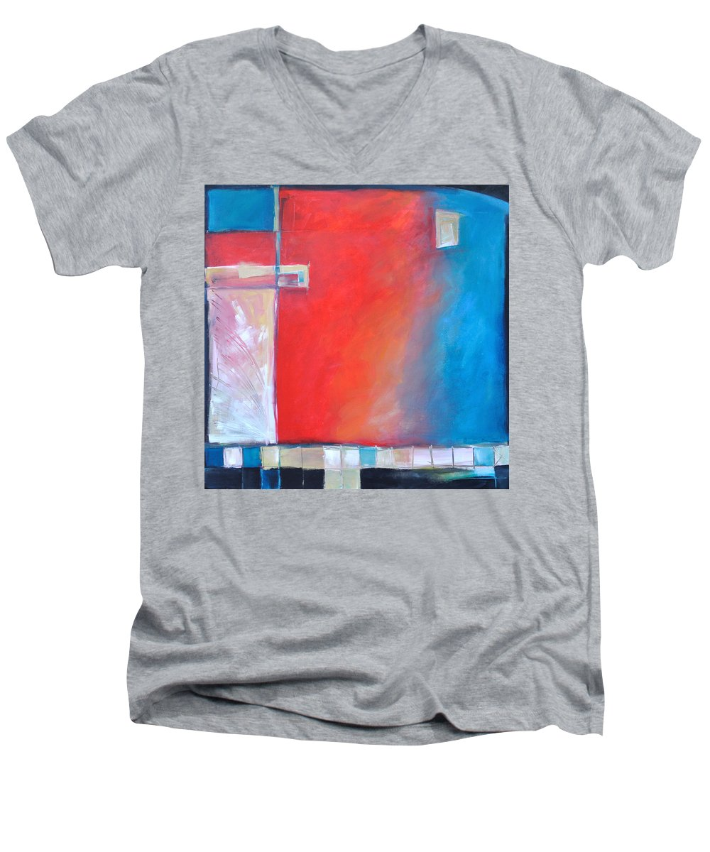 Abstract Men's V-Neck T-Shirt featuring the painting Structures And Solitude Revisited by Tim Nyberg