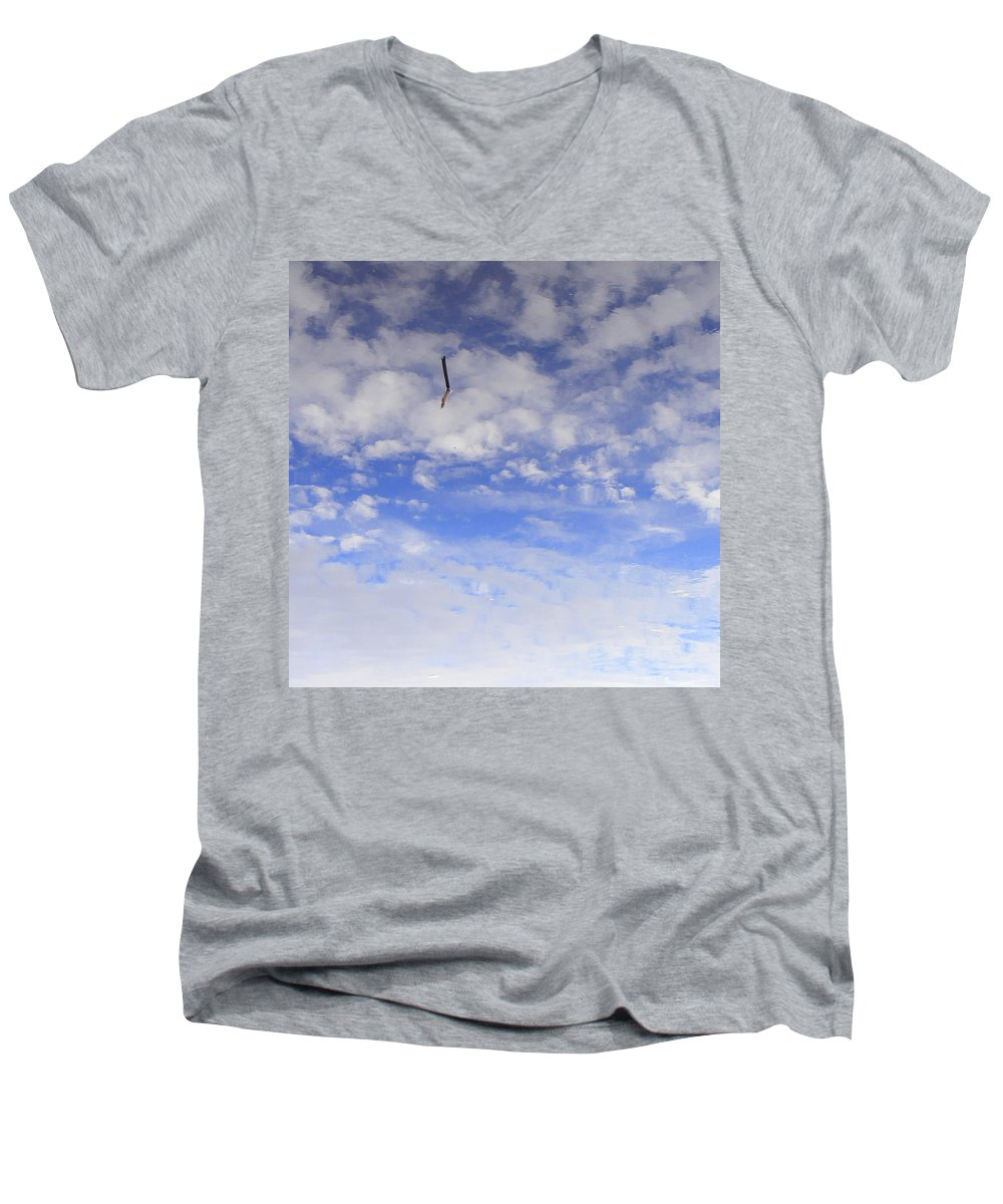 Sky Men's V-Neck T-Shirt featuring the photograph Stuck In The Clouds by Ed Smith