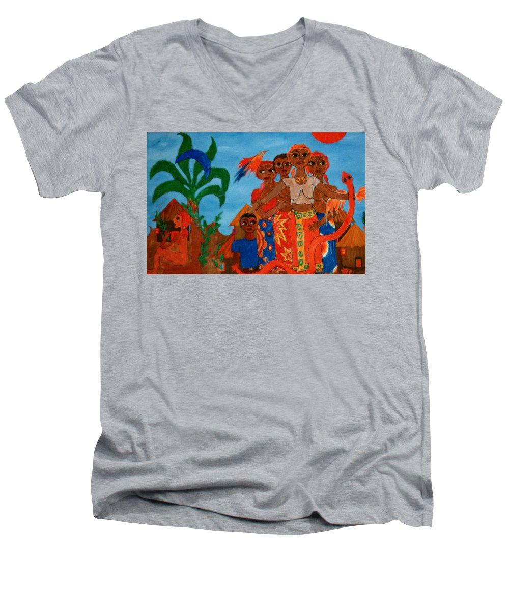 Study Men's V-Neck T-Shirt featuring the painting Study To Motherland A Place Of Exile by Madalena Lobao-Tello