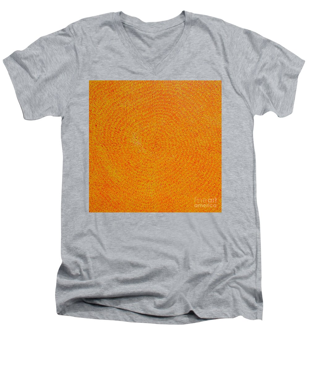 Abstract Men's V-Neck T-Shirt featuring the painting Su Gaia by Dean Triolo