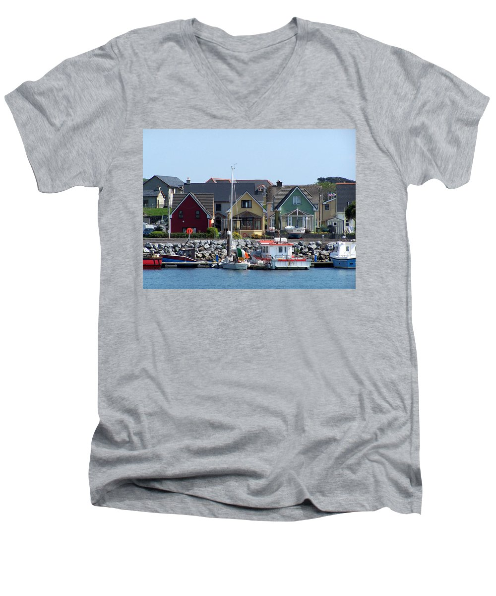 Irish Men's V-Neck T-Shirt featuring the photograph Summer Cottages Dingle Ireland by Teresa Mucha