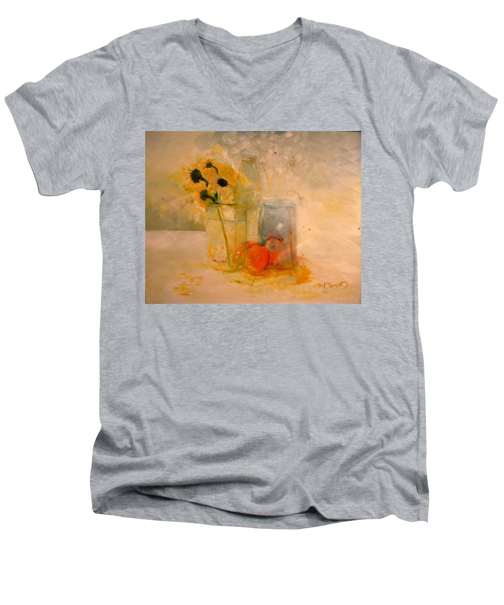 Daisey Men's V-Neck T-Shirt featuring the painting Summer Light by Jack Diamond