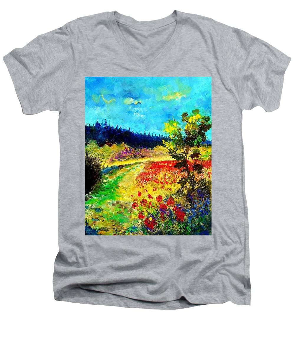 Flowers Men's V-Neck T-Shirt featuring the painting Summer by Pol Ledent