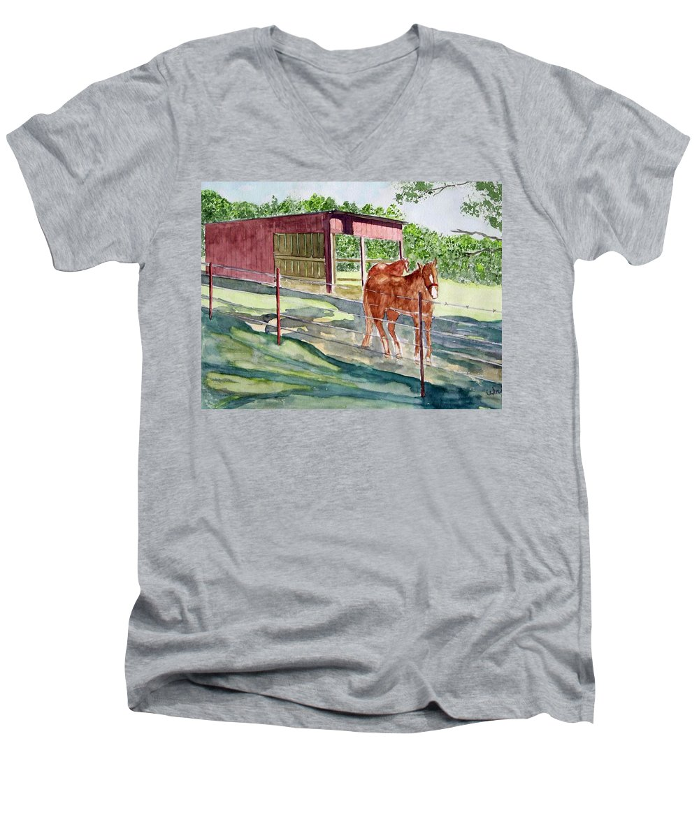 Horse Art Men's V-Neck T-Shirt featuring the painting Summer Shade by Larry Wright
