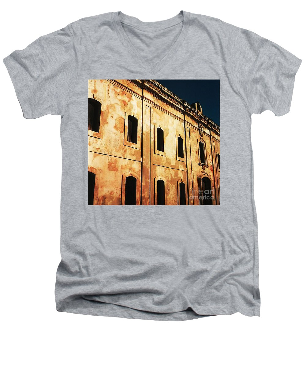 Buildings Men's V-Neck T-Shirt featuring the photograph Sun Kissed by Jeff Barrett