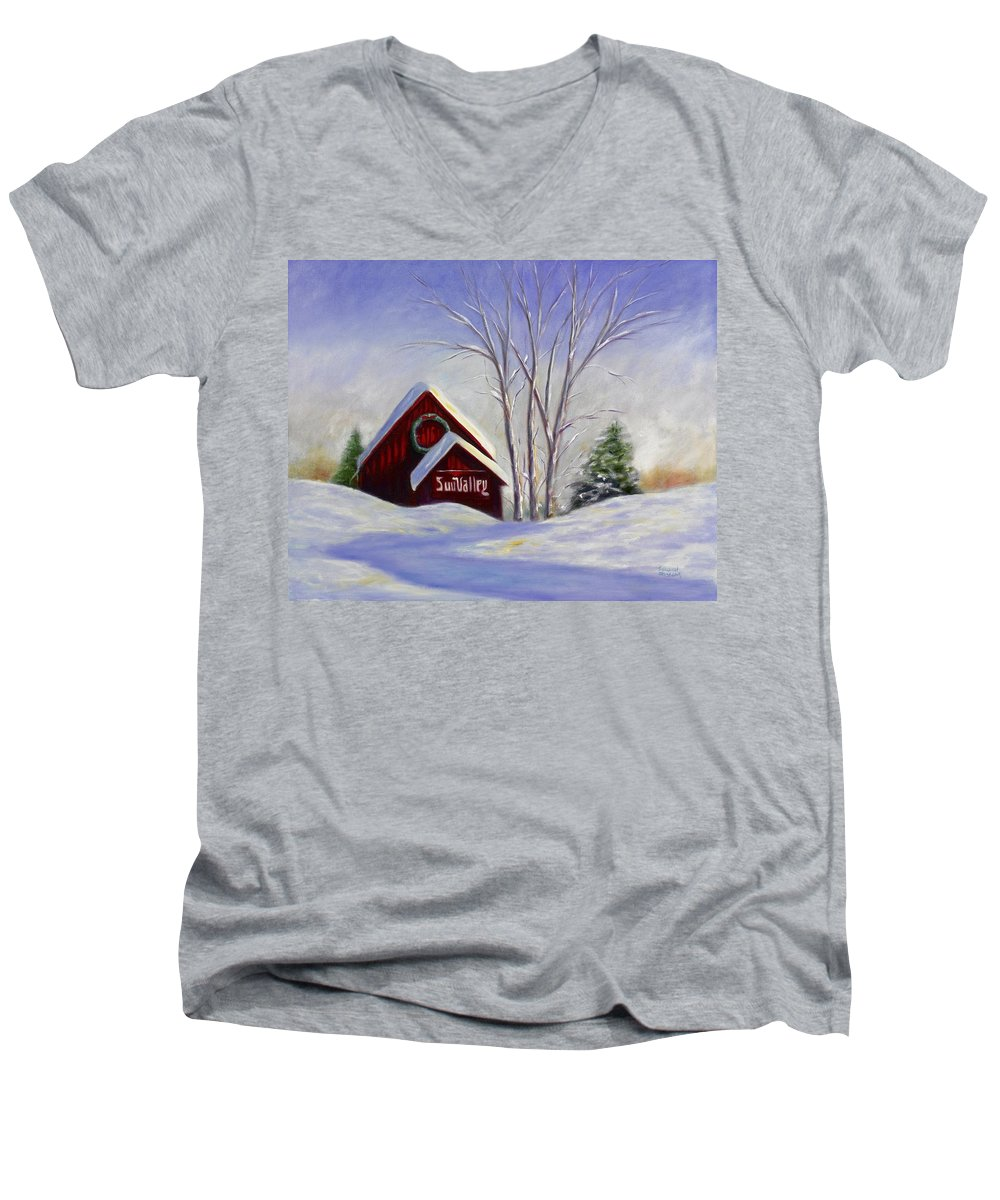 Landscape White Men's V-Neck T-Shirt featuring the painting Sun Valley 1 by Shannon Grissom