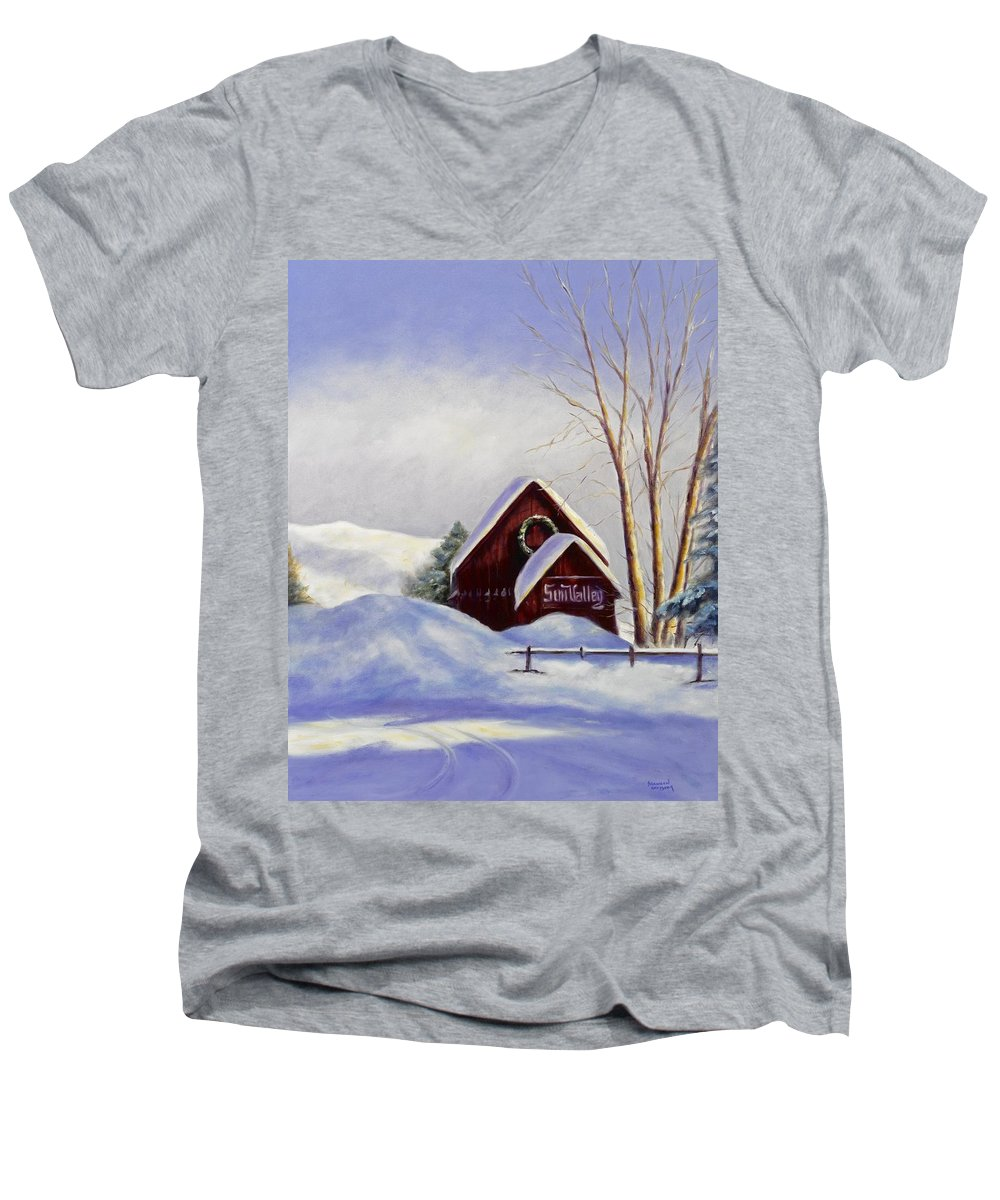 Landscape Men's V-Neck T-Shirt featuring the painting Sun Valley 2 by Shannon Grissom