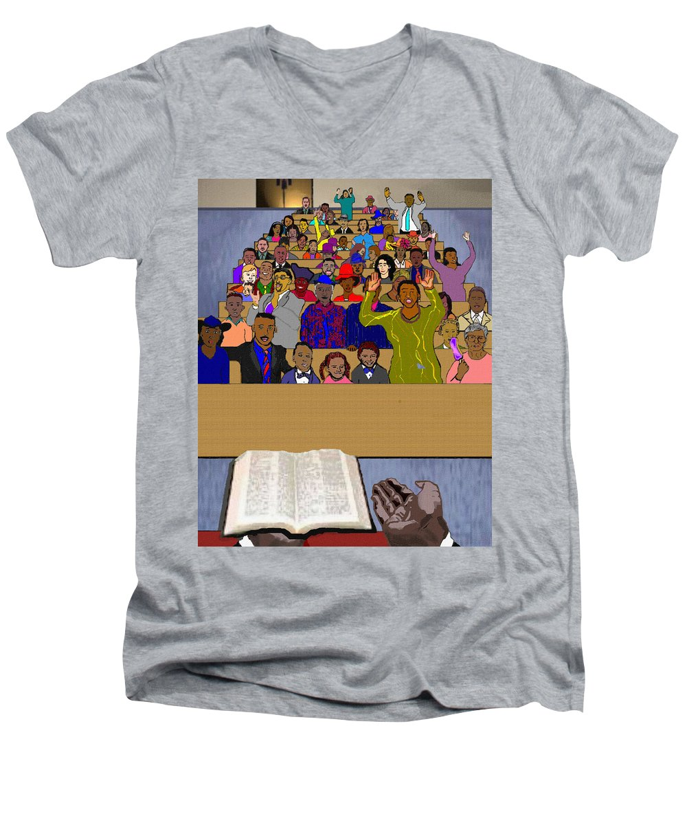 Sermon Men's V-Neck T-Shirt featuring the painting Sunday Sermon by Pharris Art