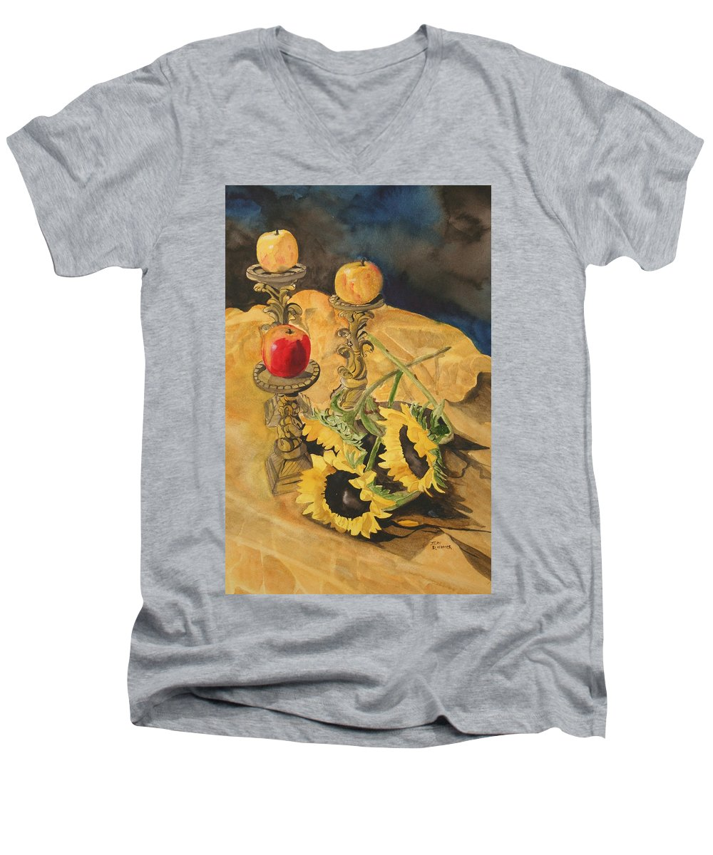 Still Life Men's V-Neck T-Shirt featuring the painting Sunflowers And Apples by Jean Blackmer