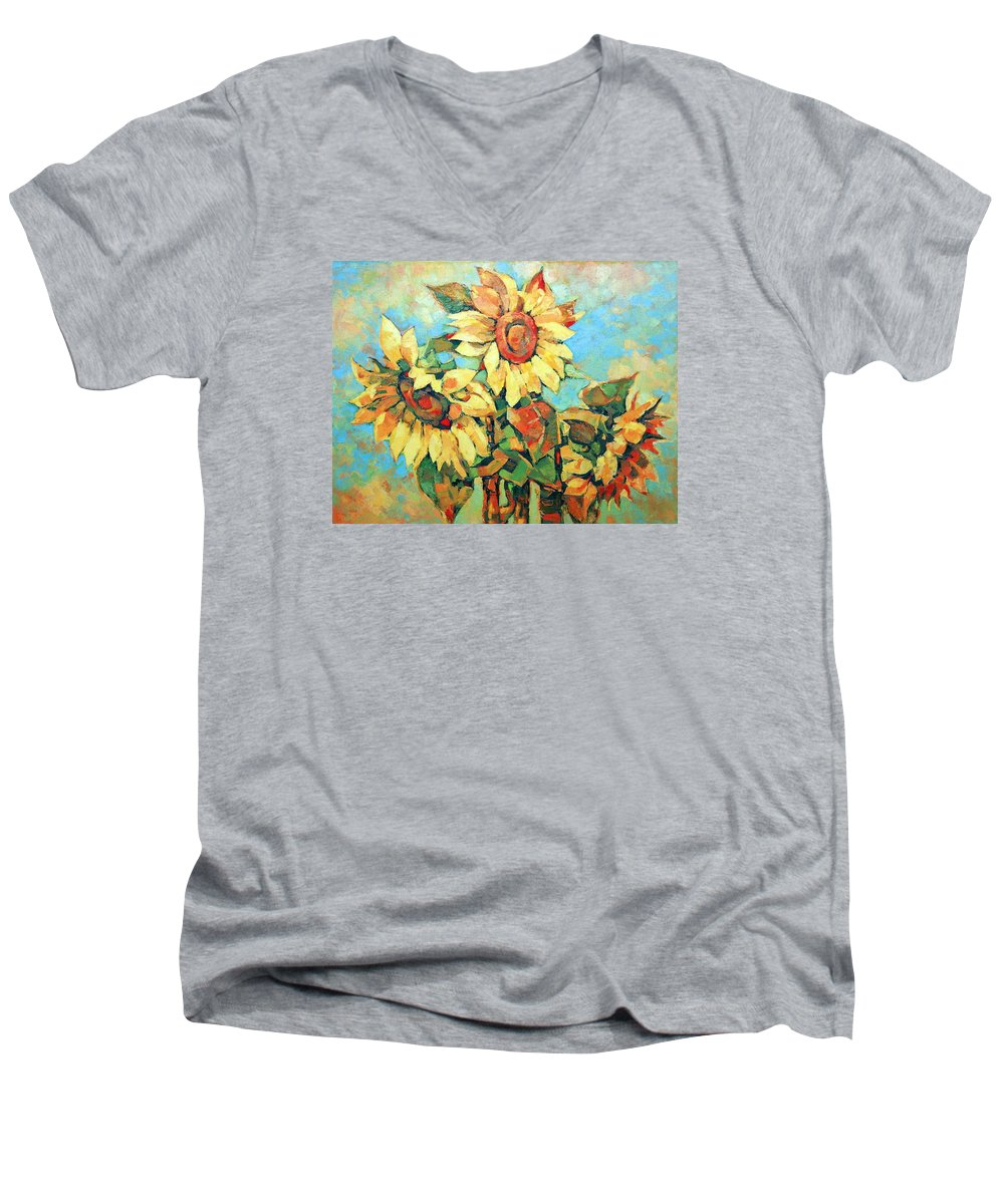 Sunflowers Men's V-Neck T-Shirt featuring the painting Sunflowers by Iliyan Bozhanov