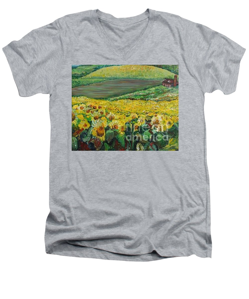 A Field Of Yellow Sunflowers Men's V-Neck T-Shirt featuring the painting Sunflowers In Provence by Nadine Rippelmeyer